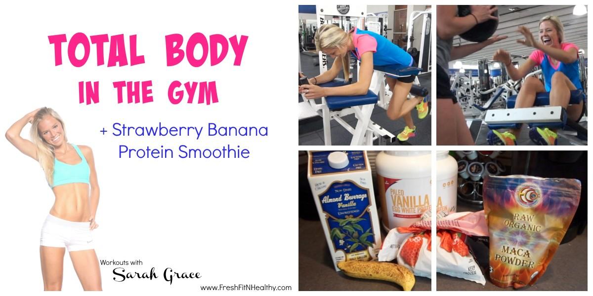 Strawberry Banana Smoothie + Total Body VLOG